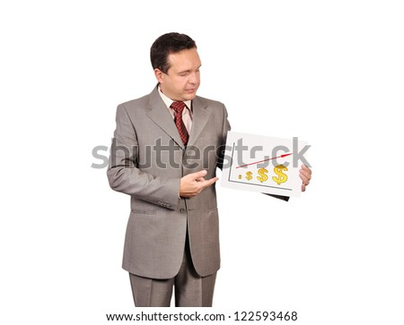 businessman holding  placard with rising dollar - stock photo