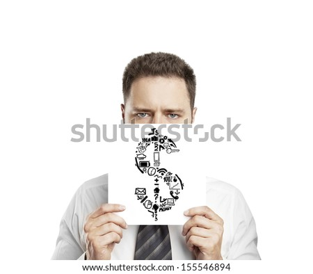 businessman holding poster with dollar sign - stock photo