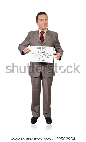 businessman holding poster with seo scheme - stock photo