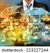 businessman holding Reaching images streaming in hands .Financial and technologies concepts - stock