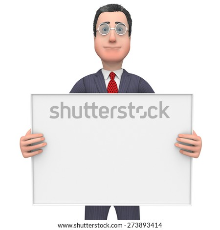 Businessman Holding Signboard Indicating Empty Space And Copyspace - stock photo