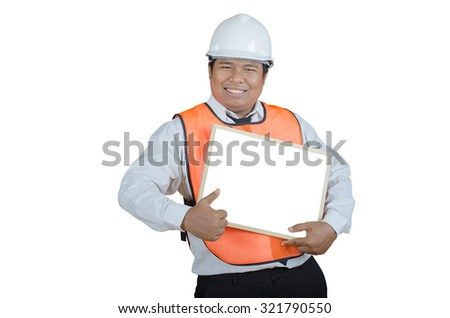 businessman holding signboard on a white background