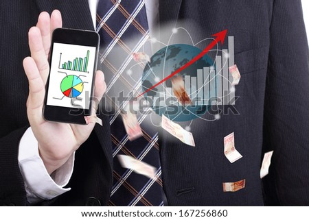 Businessman holding Smart phone for show high performance around the world