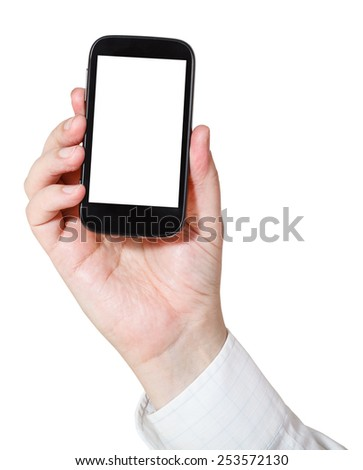 businessman holding smart phone with cut out screen isolated on white background - stock photo