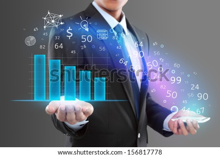 Businessman holding smartphone and showing graph. modern business concept - stock photo