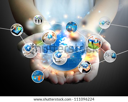 Businessman holding social media
