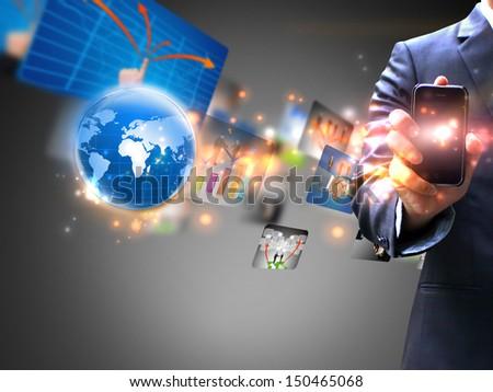 Businessman holding social media  - stock photo