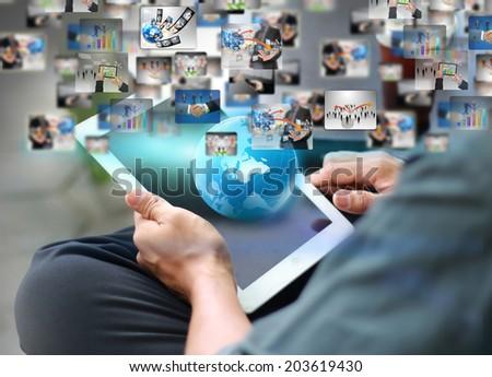 businessman holding social media concept.  - stock photo