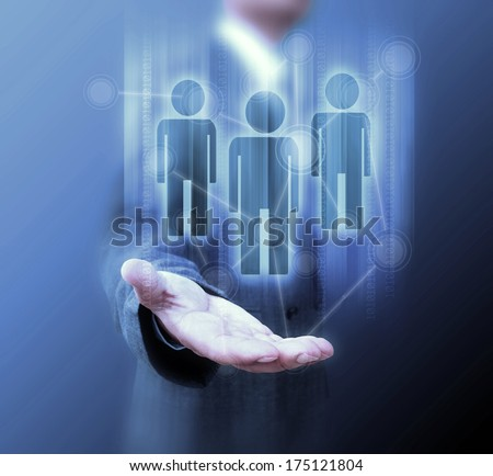 Businessman holding social network icons. - stock photo