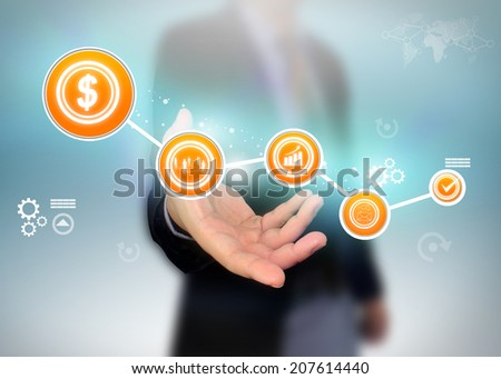 businessman holding steps successful business. - stock photo