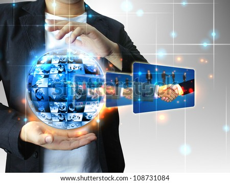 businessman holding Successful business - stock photo