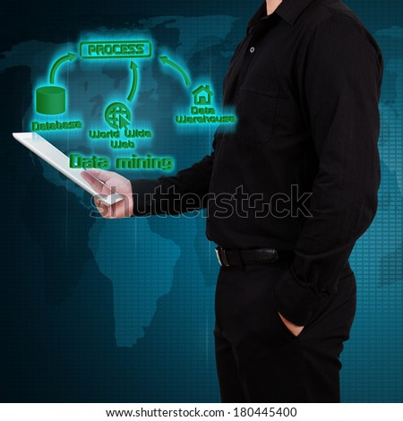 Businessman holding tablet and show data mining concept on virtual screen. - stock photo