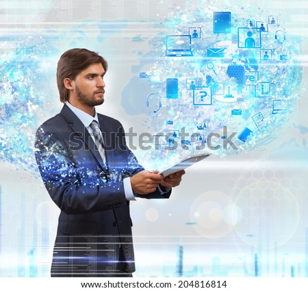 businessman holding tablet application, business man internet technology concept over abstract blue background - stock photo