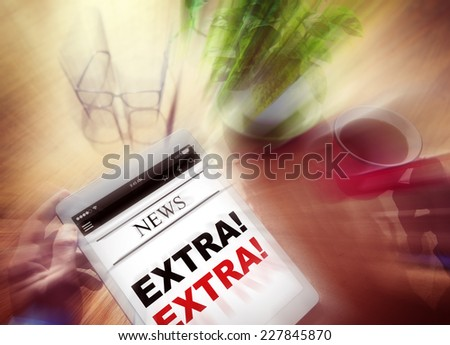 Businessman Holding Tablet Extra News Concept - stock photo