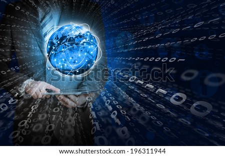Businessman holding tablet in his hands. Glowing figures and Earth. Elements of this image are furnished by NASA - stock photo