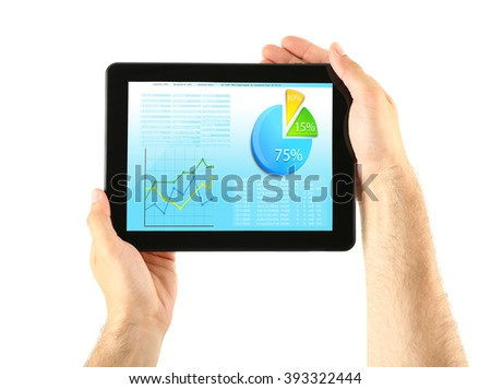 Businessman holding tablet-pc with scheme on screen, isolated on white