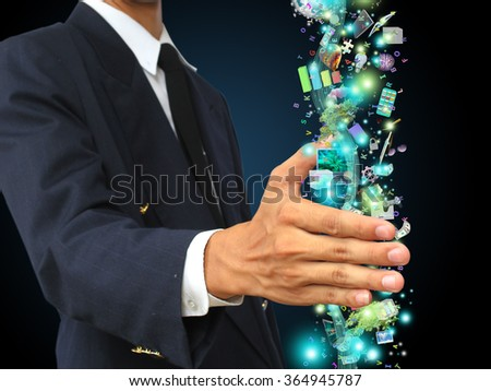 businessman holding technology