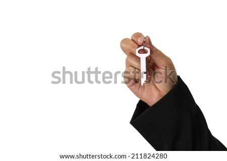 businessman holding the key isolate on white clipping path - stock photo