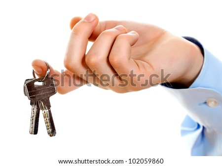 businessman holding the key to success. - stock photo