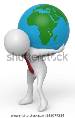 businessman holding the world - stock photo