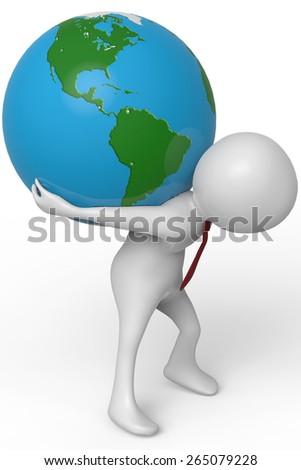 businessman holding the world bird eye view - stock photo