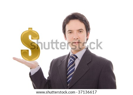 Businessman holding US dollar sign with color