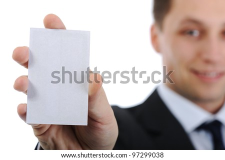 Businessman holding vertical business card