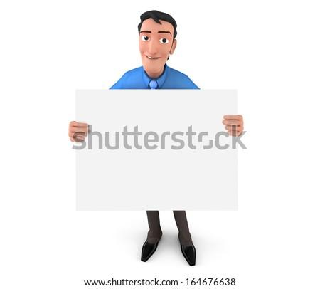 Businessman holding white board - stock photo