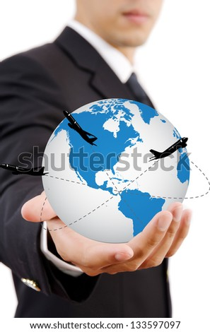 Businessman Holding World Map Globe for Business and Technology concept. with airplane around the globe.