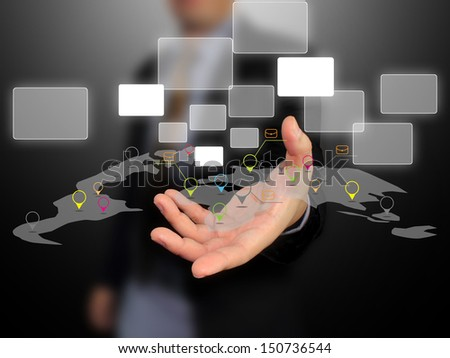 Businessman holding world map.social network concept  - stock photo
