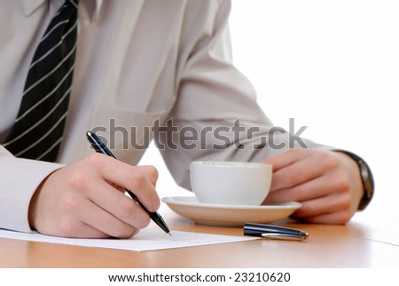 businessman holds  handle in  hand  black color and  document,  cup  coffee signs - stock photo