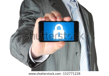 Businessman holds smart phone with closed lock on white background, security concept - stock photo
