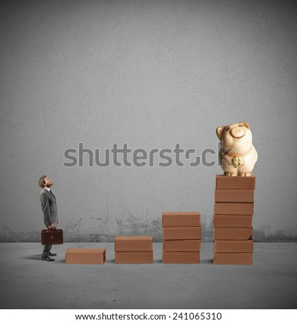 Businessman hopes to achieve success and earn - stock photo