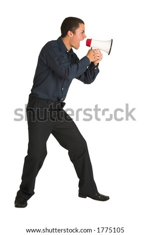 Businessman in a blue shirt, yelling. Screaming over a megaphone.