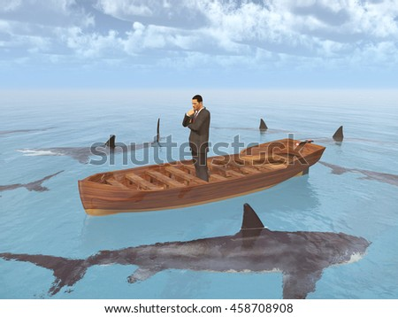 Businessman in a boat surrounded by sharks Computer generated 3D illustration