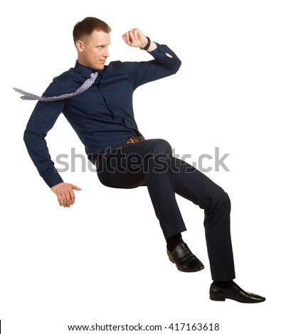 Businessman in a falling position, on white
