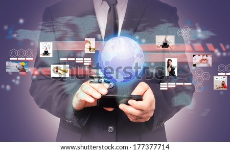 Businessman in a global virtual connection. Concept of global business