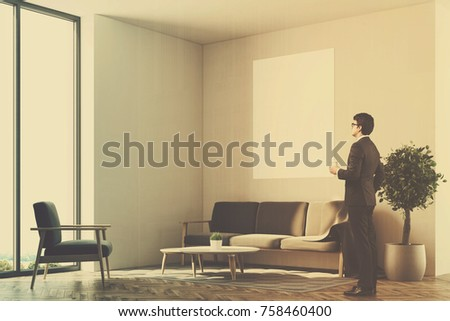 Businessman Living Room Interior White Walls Stock Illustration ...