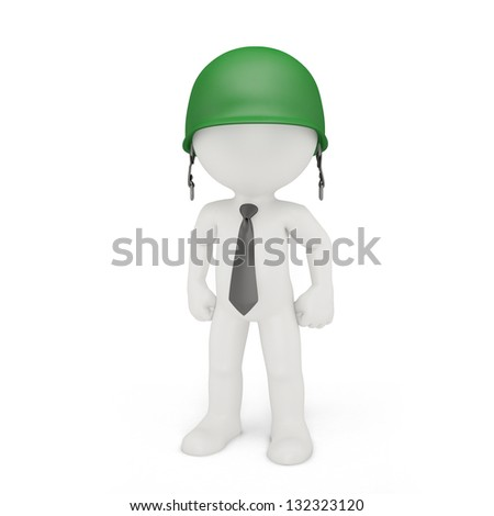 Businessman in a military helmet. Business strategy concept - stock photo