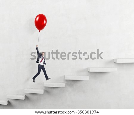businessman in a suit flying happily holding a balloon over carrer ladder, white background, concept of success and career growth - stock photo