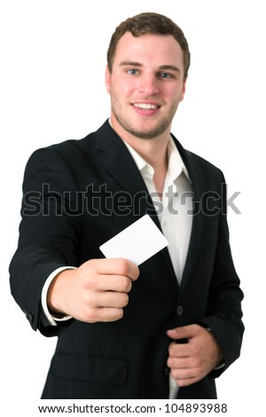Businessman in a suit giving he's blank business card