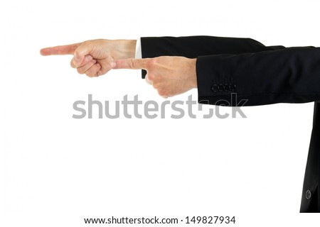 Businessman in a suit pointing to the left with both hands isolated on white, closeup cropped view of the arms
