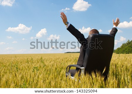 businessman in a suit sitting on a chair in a field - stock photo