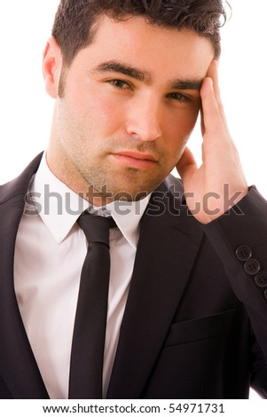 Businessman in a suit with a headache