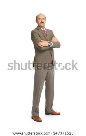 Businessman in a tie on a white background