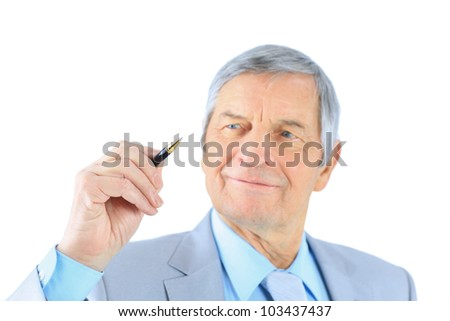 Businessman in age. Isolated on a white background.