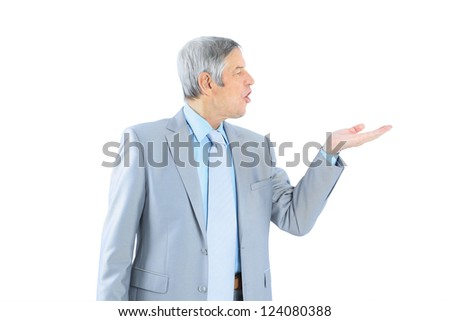 Businessman in age, with an outstretched hand. Isolated on a white background. - stock photo