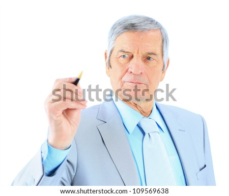 Businessman in age, writes in the air. Isolated on a white background.