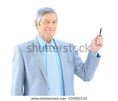 Businessman in age, writes in the air. Isolated on a white background. - stock photo