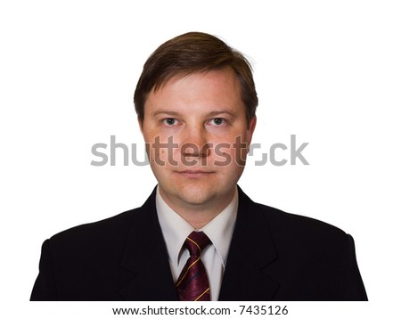 Businessman in black suit, isolated on white background - stock photo